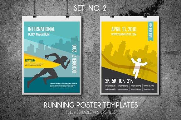 running poster template set 2 illustrations creative market