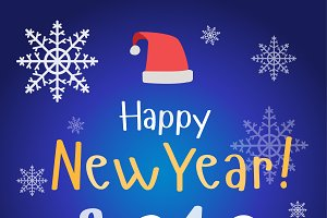 New Year Christmas poster vector