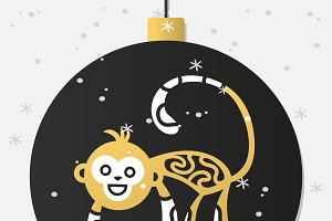 New Year monkey vector