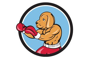 Dog Boxer Fighting Stance Circle