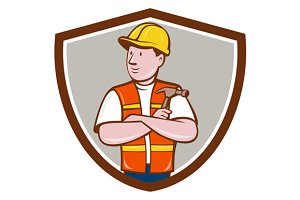 Builder Carpenter Folded Arms Crest