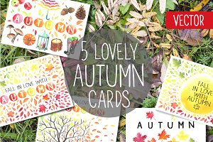 Lovely autumn cards. Watercolor