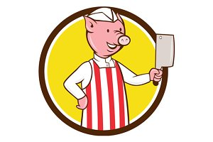 Butcher Pig Holding Meat Cleaver
