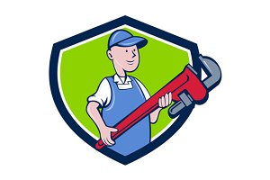 Mechanic Cradling Pipe Wrench Crest