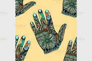 palm hand drawn Zentangle Inspired