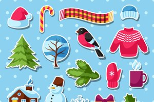 Set of winter stickers.