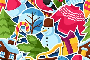 Patterns with winter stickers.