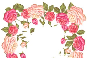Frames with vintage roses.