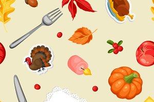 Thanksgiving Day seamless patterns.