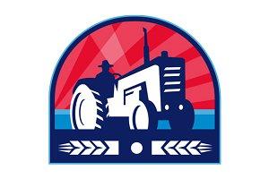 Organic Farmer Tractor Wheat Crest