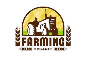 Tractor Wheat Organic Farming Crest