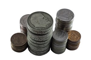 piles of the Soviet and Russian coins