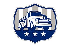 Vintage Pick Up Truck USA Flag