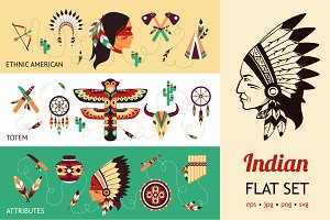 Native Americans Flat Set