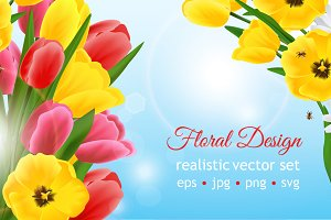 Realistic Flower Design Set