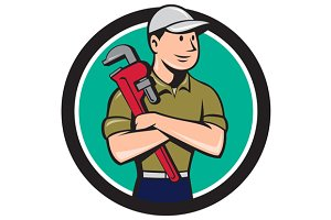 Plumber Arms Crossed Circle Cartoon
