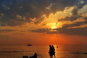 People walking on the sea