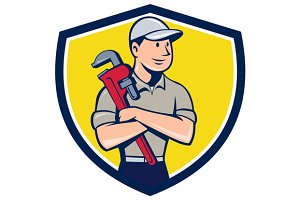 Plumber Arms Crossed Crest Cartoon