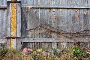 Fishing nets on the old fence