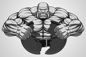 Ferocious strong athlete