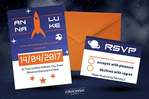 Rocket Wedding Invitation Template