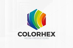 Colored Hexagon Logo Template