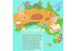 Australia map concept, cartoon style