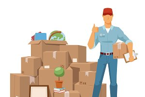 Move service man vector