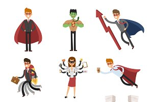 Superhero business people vector