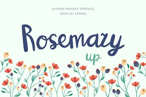 RosemaryUP script font + extras