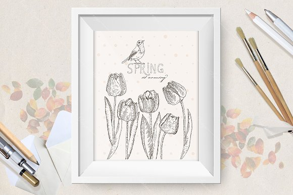 Spring flowers. Tulips - Illustrations