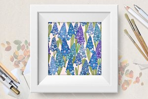 Seamless pattern with hyacinth