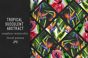 Watercolor tropical abstract pattern