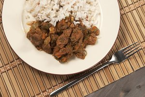Meat boiled with vegetables and rice