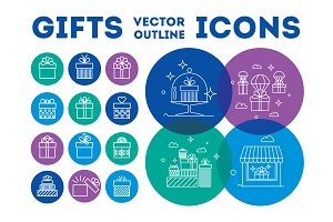 New Years Gifts vector icons set