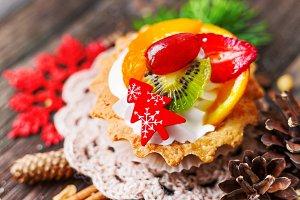 Christmas background with fruit tart