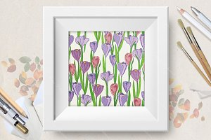 Seamless pattern with crocus