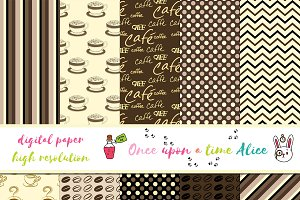 Cute Set of Digital Paper: Coffee