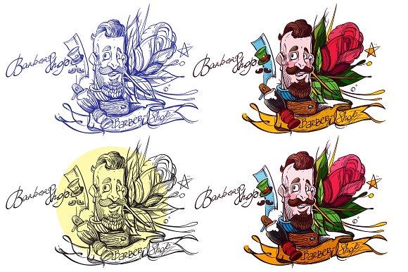 Barber shop. Tattoo sketch - Illustrations