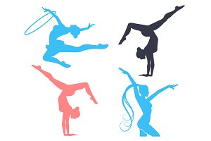 Gymnastics Women Silhouettes Set