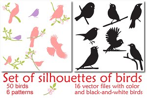 Bird silhouettes, Vector Collection