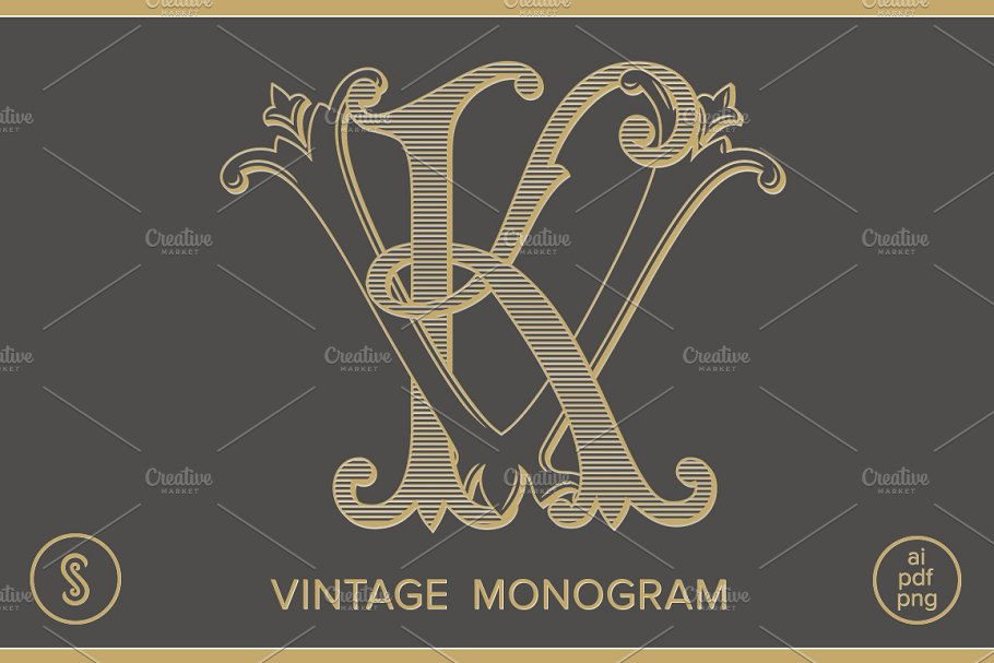 KV Monogram VK Monogram ~ Logo Templates ~ Creative Market