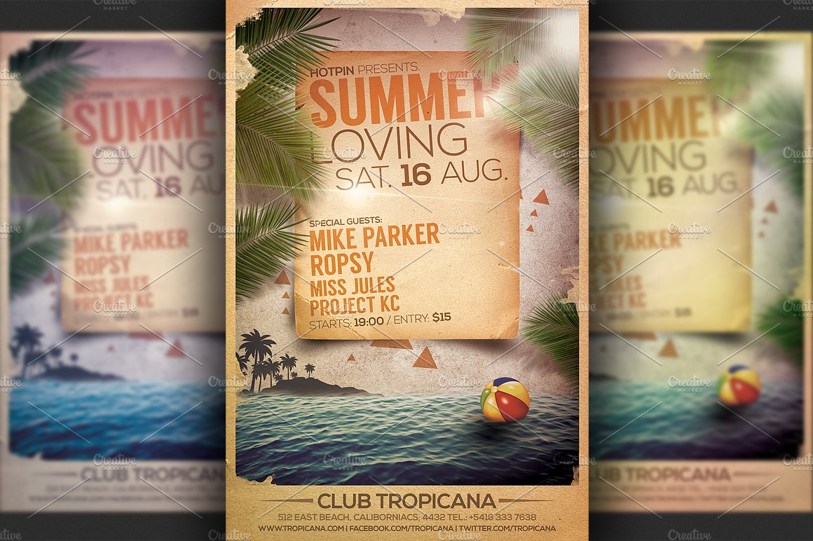 Summer Party Flyer Template Templates Creative Market