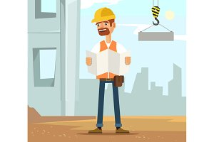 Builder man worker character