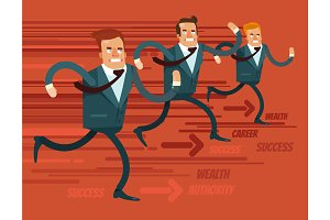 Businessmen characters run race