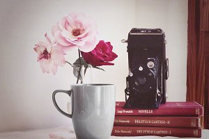 Vintage camera with books and roses