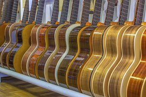 Row of guitars