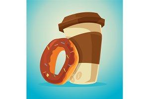 Cup of coffee and donut