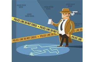 Detective at crime scene