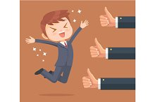 Happy businessman character